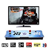 HAAMIIQII [2200 HD Retro Games] Pandora Treasure 3D Box Arcade Game Console 1920x1080 Full HD 2 Players Arcade Machine Support TF Card to Add More Games for PC / Laptop / TV / PS3 (Blue VS)