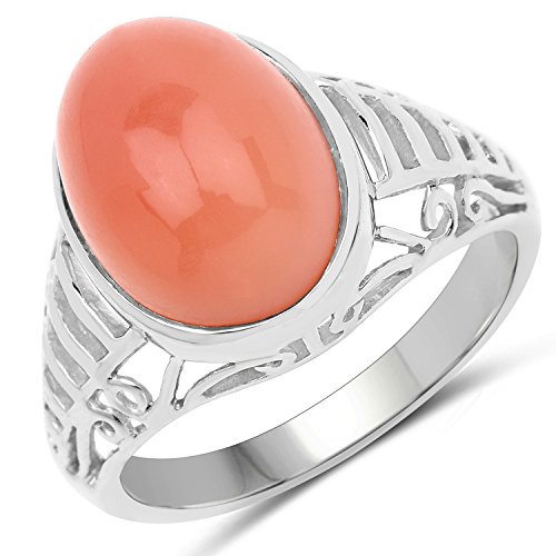 Peach Moonstone Ring - Saris and Things 925 Sterling Silver Genuine Peach Moonstone Ring (6.00 Carat) Size 7