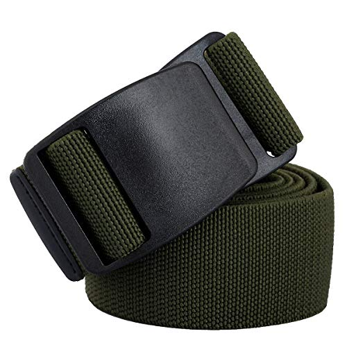 Style Adult Plastic Pants - Sportmusies Elastic Belts for Men, Military Style Stretch Webbing Tactical Duty Belt (Army Gree,Flat Plastic Buckle)