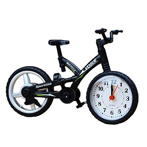 JAROWN Creative Artistic Retro Bike Model Desk Clock for Office Home Bedside Decotation (Black) (Radio Christmas Stations Christian)