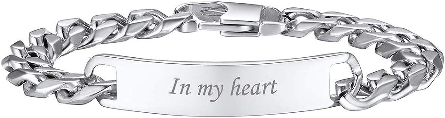 Bracelet couple amoureux pour 2 bracelet personnalis/é pr/énom bracelet homme acier inoxydable avec gravure bracelet femme