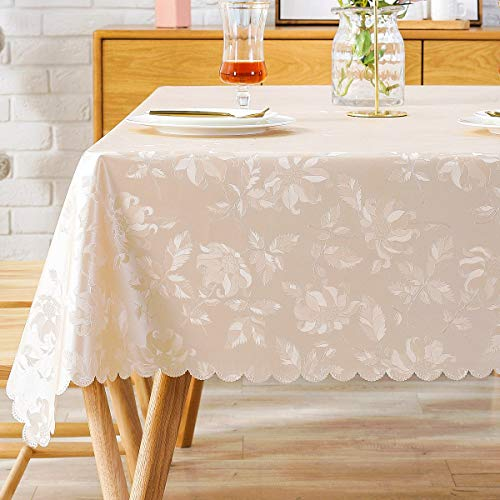 Round Vinyl Oilcloth Tablecloth Waterproof PVC Plastic Wipeable Spillproof Peva Heavy Duty Tablecloth for Outdoor Patio Champagne Flower Diameter 54 Inch (Tablecloth Round Wipeable)