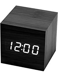 Cube Alarm Clock Modern Bedrooms Table, Black LED Light Digital Wooden  Atomaic Battery Operated For