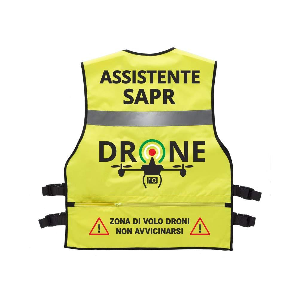 Fashion Graphic Gilet Multitasche Serie Professionale Pilota di Apr Drone Operatore Assistente Tecnico Video Sapr Alta visibilit/à Catarifrangente Sicurezza Conforme Enac Bluc Operatore Sapr