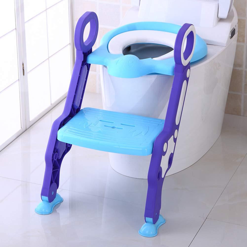 Siège De Toilette Enfant avec Échelle Réducteur De Toilette Pliant Réglable À Deux Vitesses Abattant Toilette Siège/À Angle Ajustable Et Antidérapant Blue DGNG