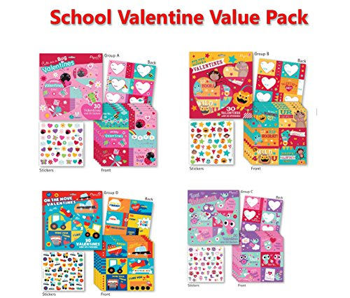 B-THERE School Valentine Day Value Pack Featuring 120 Valentines & 200 Stickers, Kids Valentines Cards