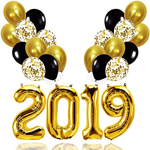 Palksky Large 40 Inch 2019 Balloons Kit - Gold Confetti Balloons and Black Gold Latex Balloons for Bachelorette/New Years/Birthday Party Supplies 2019 Graduation Decorations (25PCS)