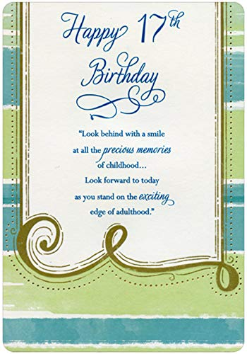ook Behind with a Smile Die Cut Edges Age 17 / 17th Birthday Card ()