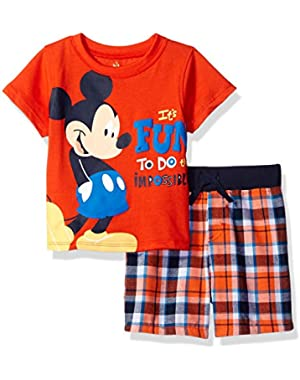 Baby Boys' 2 Piece Mickey Mouse Plaid Short Set