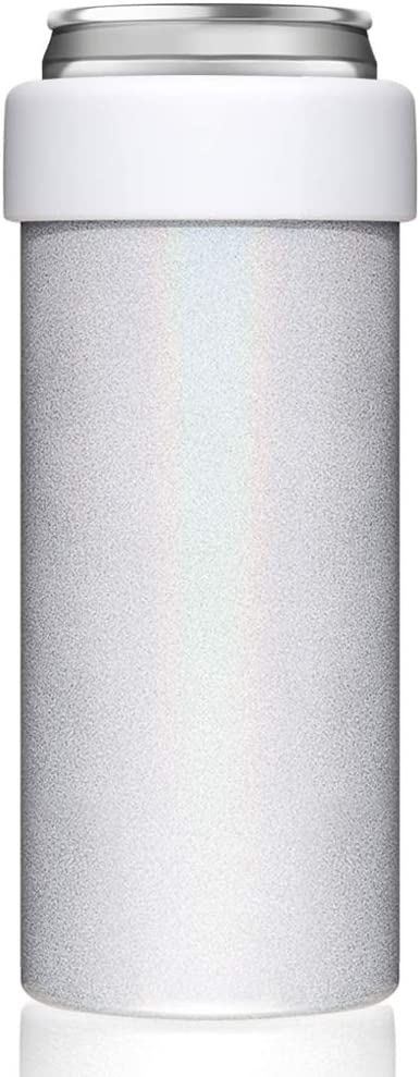 Vacuum Insulated Can Cooler for 12 OZ Slim Cans, Double walled Stainless Steel Beer/Soda/Beverage/Energy Drink Skinny Bottle Cans Keeper (Glitter White)