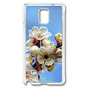 VUTTOO Rugged Samsung Galaxy Note 4 Case, Blooming Cherry Flowers Hard Case for Samsung Galaxy Note 4 N9100 PC Transparent