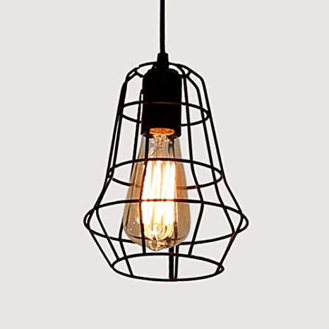 WSYYWD Lámpara de jaula de hierro Lámpara colgante Simple Retro ...
