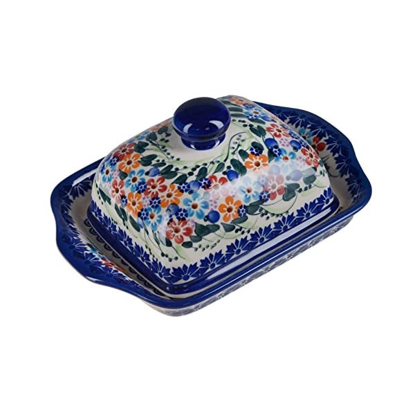 BCV Classic Boleslawiec Pottery Hand Painted Stoneware Butter Dish with lid 067 (U-008)