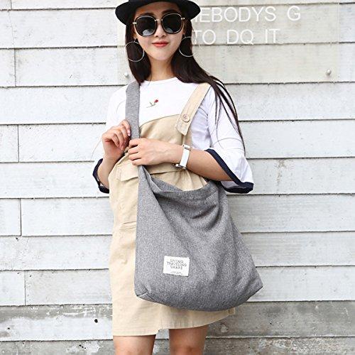Fanspack Women's Canvas Hobo Handbags Simple Casual Top Handle Tote Bag Crossbody Shoulder Bag Shopping Work Bag by Fanspack (Image #1)