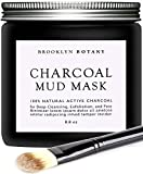 Which Skin Cleansing Brush Is Best - Activated Charcoal Mud Mask + FREE Facial Brush - Facial Mask For Deep Cleansing Exfoliation - Best for Shrinking Pores, Fight Acne, Black Head Remover & Blackhead Mask - 8.8 fl oz - Brooklyn Botany