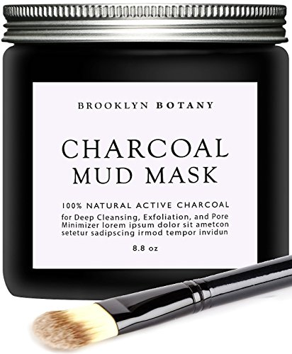 Brooklyn Botany - Activated Charcoal Mud Mask + Facial Brush - Facial Mask For Deep Cleansing...