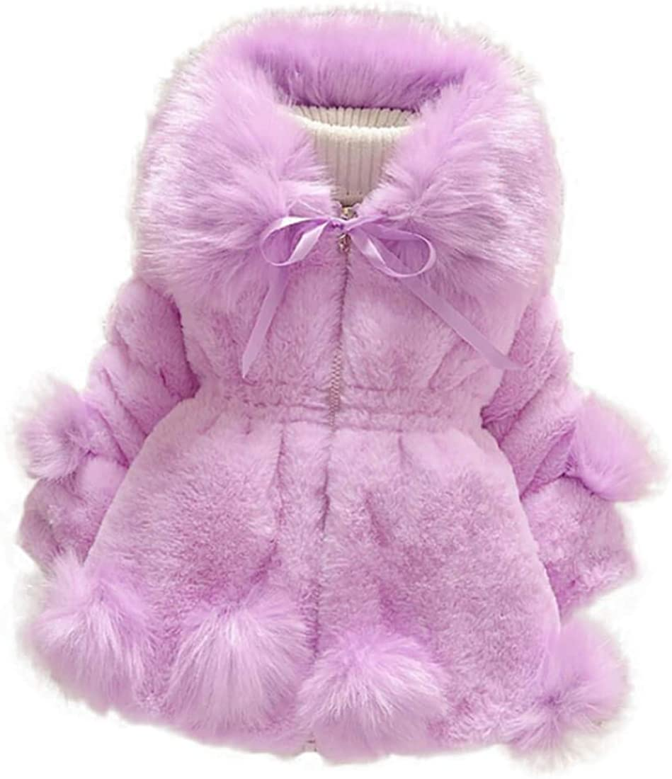 Creative Festive Costume Girls Faux Fur Winter Coat Warm Thicken Cotton Padded