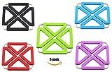 Kitchen Expandable Silicone Trivets Metal Trivet Mat Hot Pot Holder Pads (5, Square-Multicolor)