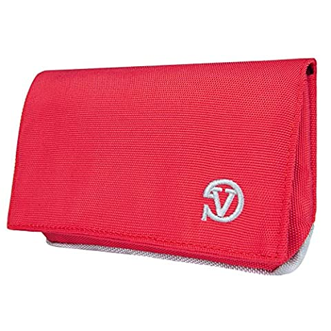 Vangoddy Poly Sport Nylon Wallet Case Clutch (Red/Grey) for Alcatel OneTouch / Pop / Pixi / Idol Series 5