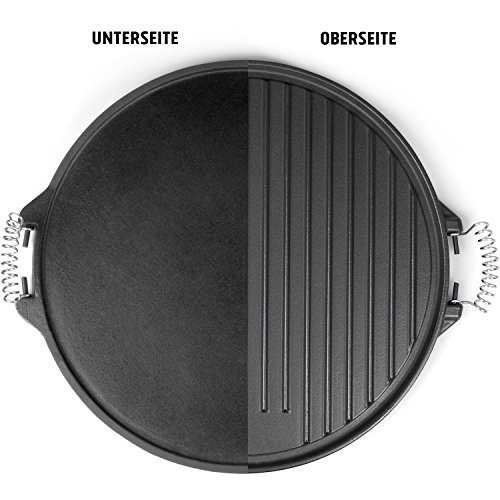 Rustler Round Cast Iron Griddle Pan For Bbq With Enamel