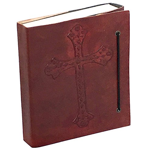 DHK Handmade Vintage Antique Look Genuine Leather Bound Christian Catholic Journal Diary Notebook Travel Book with blank Unlined Pages to write for Men Women Gift for Him Her Celtic Cros