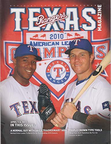 2011 Texas Rangers Souvenir Program Magazine ~ April 1-6, 2011 ~ Neftali Feliz and Josh Hamilton cover