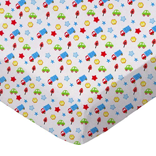 (SheetWorld Fitted 100% Cotton Percale Cradle Sheet 18 x 36, Baby Cars & Trucks, Made in USA)
