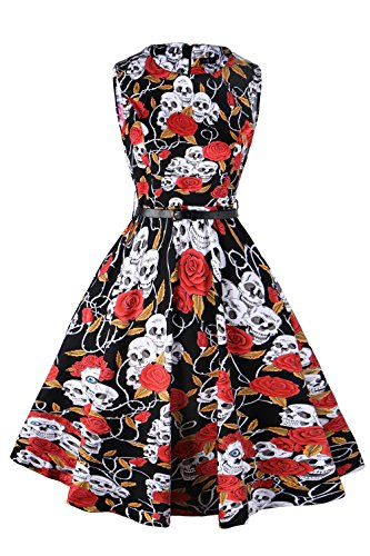 FitDesign Women's 1950s A Line Vintage Dresses Audrey Hepburn Style Floral Party Dress Black Red White Flower Halloween Skull XXL ()