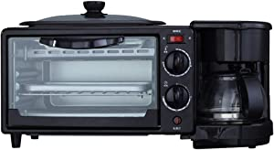 Breakfast Maker Toaster Breakfast Machine Multi-function Toaster Oven Home Integrated Automatic Coffee Breakfast Station (Color : Black, Size : 26x20.5x17.1CM)