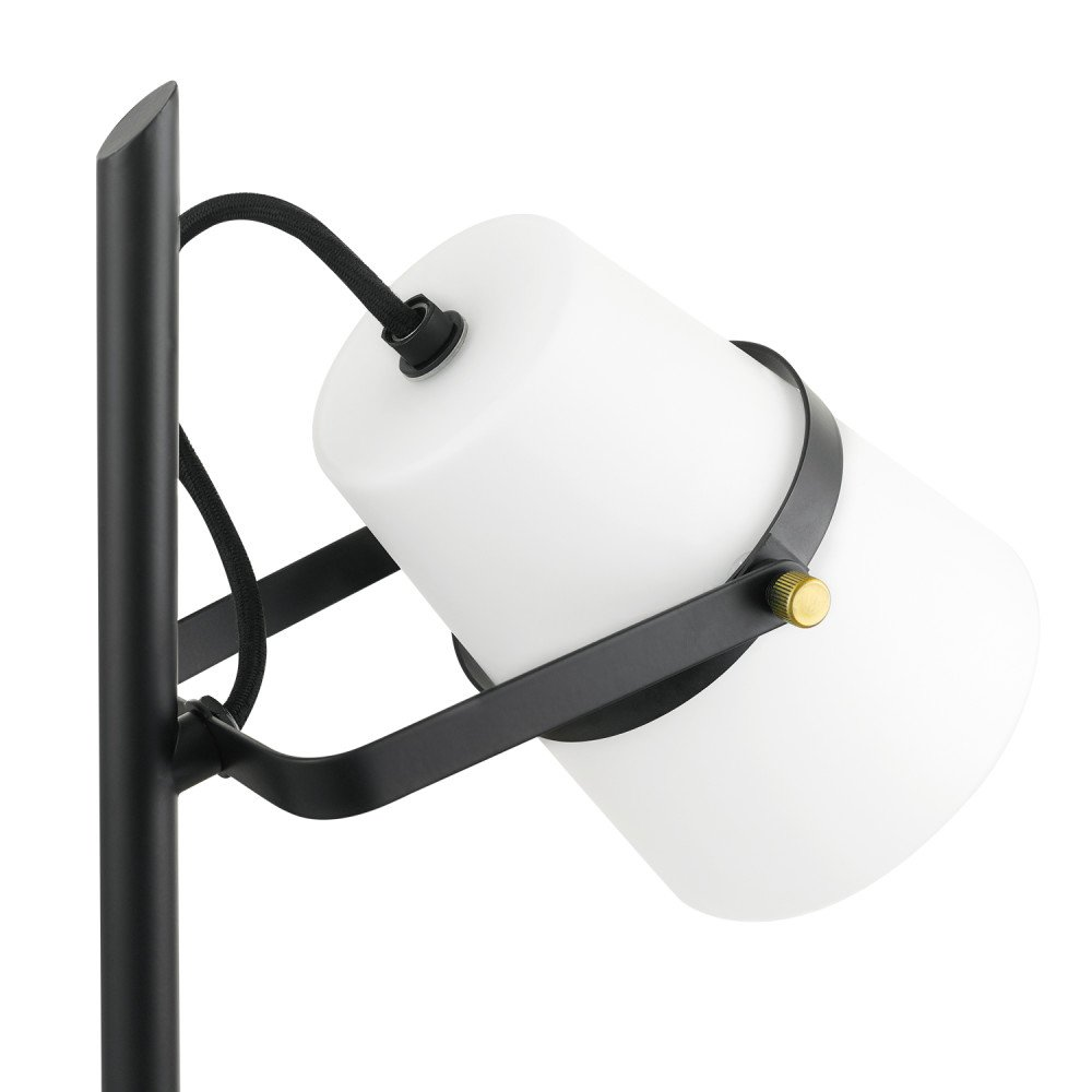 Black Satin Finish Novogratz x Globe 18 Desk Lamp Frosted Glass Shade Brass Accents Rotary On//Off Switch 52094 Novogratz x Globe Electric Black Cloth Cord Accent