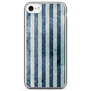iPhone 7 Transparent Edge Phone Case Light Blue Lines iPhone 7 Cover with Transparent Frame