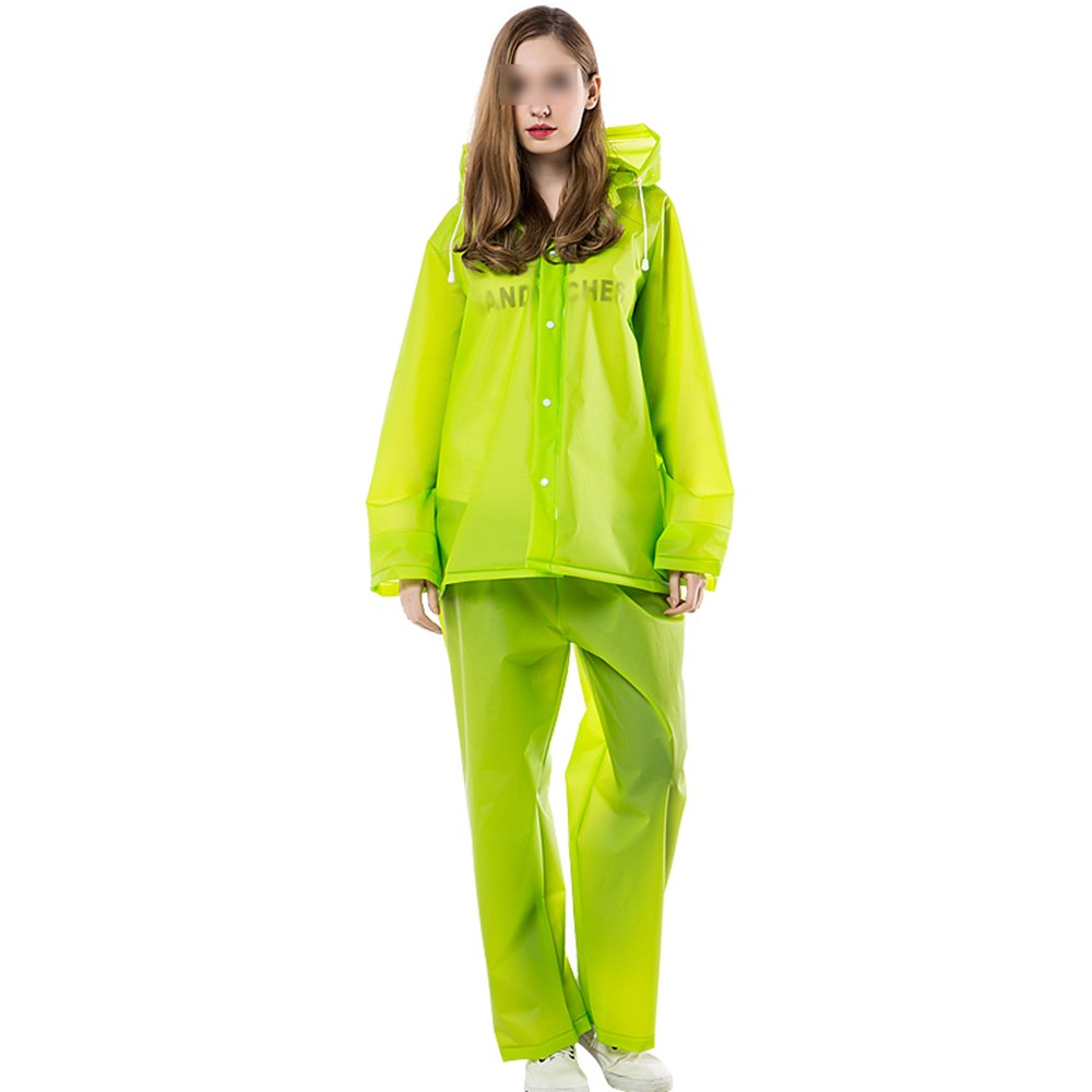 LPYMX Chubasquero Impermeable Traje de Lluvia Dividido Aire Impermeable al Aire Dividido Libre para Adultos con Gorra (Color : Verde, Tamaño : L) fc0882