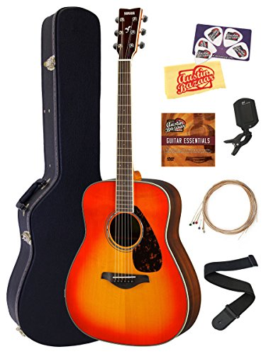 Yamaha FG830 Solid Top Folk Acoustic Guitar - Autumn Burst Bundle with Hard Case, Tuner, Strings, Strap, Picks, Austin Bazaar Instructional DVD, and Polishing Cloth