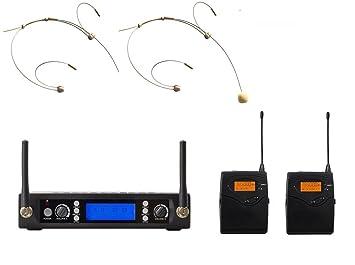 Poly Audio UHF Etapa rendimiento Dual sistema de micrófono auricular inalámbrico de color beige