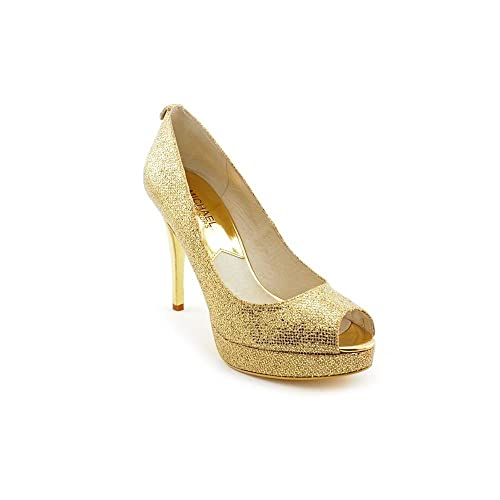 cbf3ce0c33b Michael Kors York Platform Womens Size 10 Gold Textile Platforms Heels Shoes