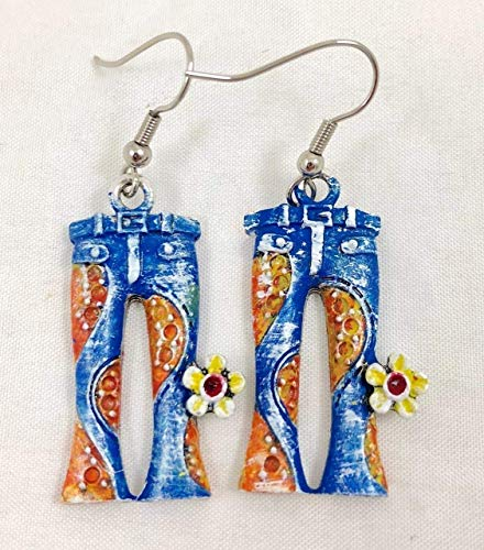 Hand-Painted Bell Bottom Retro 60s 70s Hippie Jeans Charm Earrings