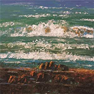 The Perfect effect Canvas of oil painting 'Waves and Sea Gull' ,size: 10x10 inch / 25x26 cm ,this Vivid Art Decorative Canvas Prints is fit for Nursery decoration and Home artwork and Gifts