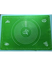VIQILANY 70x50cm Large Silicone Mat with Measurements,for Baking,Sugar craft,Fondant,Pastry,Icing Cake,Clay - Green