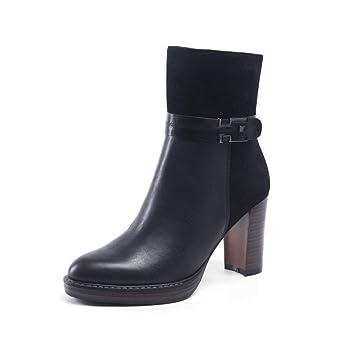 Zapatos de mujer, botines de tacón grueso gruesos, a prueba de viento, de