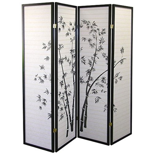 Lovely Bamboo Silhouettes Wood Frame with Black Finish 4 Panels Divider by Wood