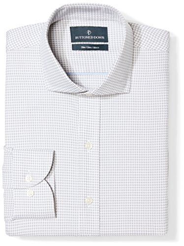 BUTTONED DOWN Men's Slim Fit Cutaway Collar Pattern Non-Iron Dress Shirt, Grey Houndstooth, 15