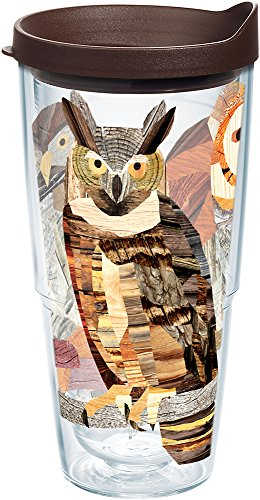 (Tervis 1216535 Woodgrain Owls Tumbler with Wrap and Brown Lid 24oz, Clear)