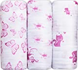 Swaddle Blanket, 3 Pack Baby Muslin Swaddle Blankets – Extra Large, Hypoallergenic, Pink Cotton Swaddle Blankets for Newborn Girls and Boys – Perfect Baby Shower Gift