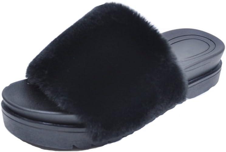 SandalsSlippers Fashion Women and Men Flip Flop Fur Slide Slip On Flats Shoes