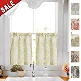 Cheap Paisley Scroll Printed Linen Tier Curtains – Medallion Design Jacobean Floral Printed Curtains Burlap Vintage Bedroom 45 Inches Long Curtain Panels (Sage, 2 Panels)
