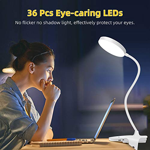 Clip on Light Reading Lights, YIIMER LED Clamp Desk Lamp with 5 Color Modes & 5 Brightness Levels, 3000-6500K Reading Light for Desk, Bed Headboard, Touch Control LED Clip on Light with 360° Gooseneck