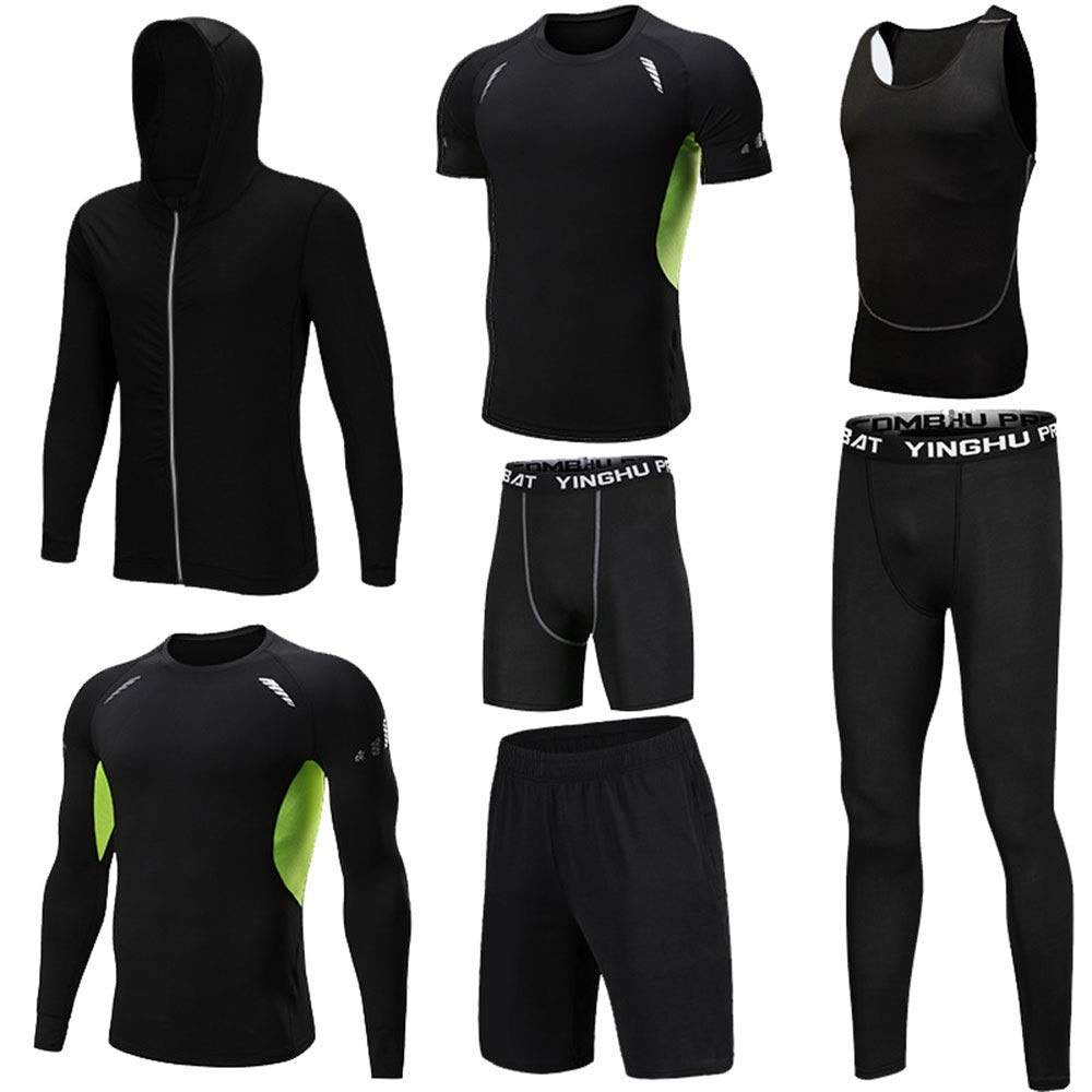 Wuxingqing Gym Wear Fitness Bekleidung Set Herren 7 Pcs Sport Activewear Anzug mit Outwear, Kompressionshose Hosen, 3er Pack Tshirt, 2er Pack Shorts (Color : Black, Size : M)