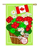 Evergreen Canadian Patriotic Basket of Flowers Linen House Flag, 28 x 44 inches Review