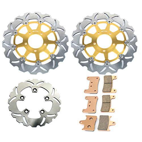 TARAZON 1 Set Front & Rear Brake Discs Rotors and Pads for Suzuki GSXR 600 750 04 05 GSX-R 1000 2004 ()