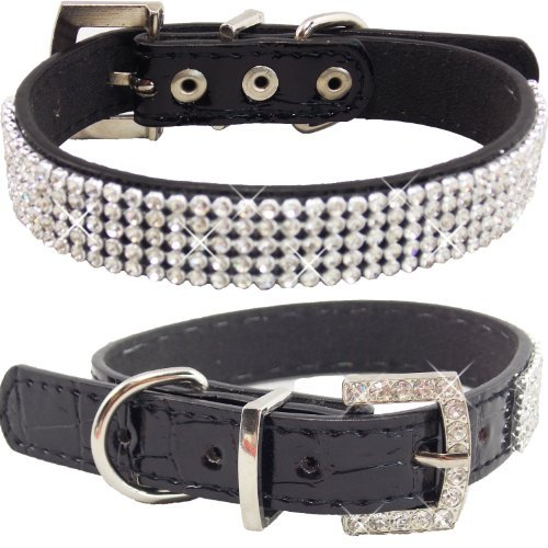 WwWSuppliers Crocodile PU Leather Bling Brilliant Sparkling Shine Flashy Rhinestones Adjustable Dog Puppy & Cat Luxury Cute Elegant Fashion Collar (Black, Small)
